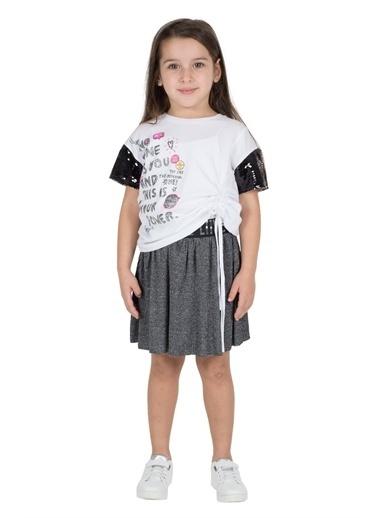 Silversun Kids Kız Çocuk Belden Lastikli Simli Etek Fc 215337 Antrasit